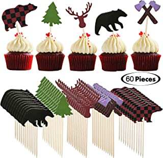 60 Pieces Lumberjack Cupcake Toppers Woodland Animals Buffalo Plaid Baby Bear Tree Cupcake Toppers for Boy's Lumberjack Party, First Birthday Party Supplies