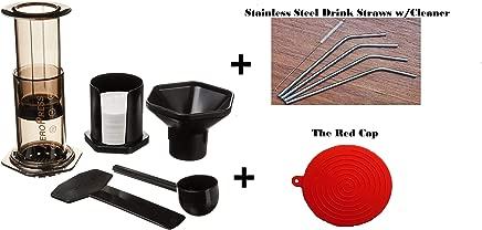 Aeropress Coffee and Espresso Maker With Bonus Drink Straws & The Red Cap