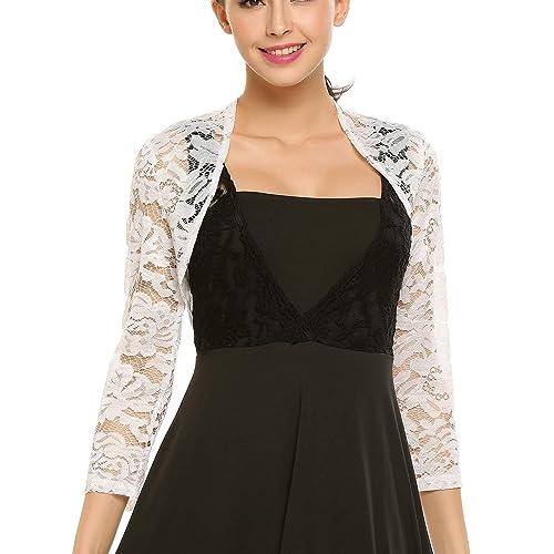 2b93956e616 Meaneor Women Floral Lace Shrug Long Sleeve Front Open Bolero Blouse Crop  Top