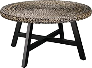 RANDEFURN Seagrass Round Coffee Table,Sofa & Console Tables,Pine Wood X Base Frame End Tables, Easy Assembled,Multiple Siz...