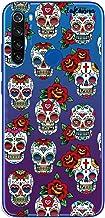 dakanna Funda para [Xiaomi Redmi Note 8T] de Silicona Flexible, Dibujo Diseño [Pattern Calaveras de azucar Estilo Mexicano con Flores], Color [Fondo Transparente] Carcasa Case Cover de Gel TPU