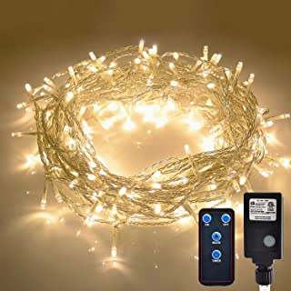 JMEXSUSS Indoor String Light Christmas Lights Fairy String Lights 30V 8 Modes for Homes, Christmas Tree, Wedding Party, Room, Indoor Wall Decoration, UL588 Approved (Warm White-Clear Wire, 300LED)