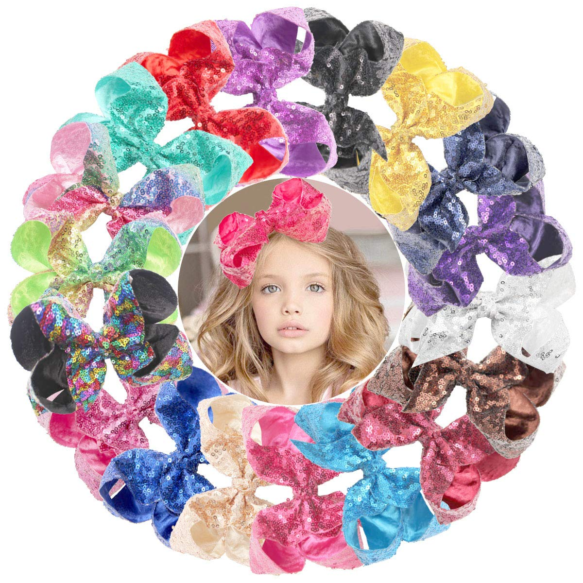 DeD 18 Pieces Glitter 6 Inch Max Popular brand 42% OFF Hair Big Clips Sequins Bows Rainbow