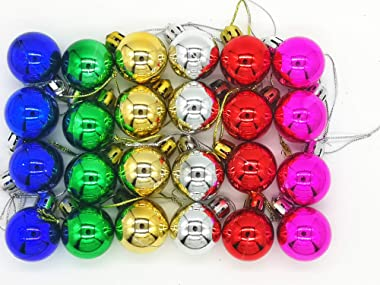 Sweetfamily 24 Pack Christmas Balls Ornaments Mini Shatterproof Ball for Christmas Tree Decorations 1.2 Inch (Multicolor)