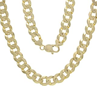 """14K Real Genuine Solid Gold 9MM Extra Wide Flat Cuban Link Chain, Made in California (8"""" - 30"""")"""