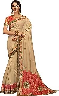 World of style Women's Silk Zari Embrodiary Work Designer Saree With Silk Blouse (Cream)