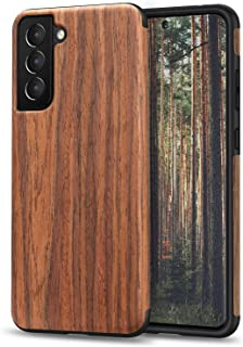 TENDLIN Designed for Samsung Galaxy S21 Plus Case, Wood Grain Design TPU Hybrid Case Compatible with Galaxy S21+ 5G (Red S...