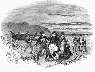 Wrecking A Ship 1843 Narmed English Coast Guards Battling Wreckers Plundering The Cargo Of A Ship Wrecked On The Cornish C...