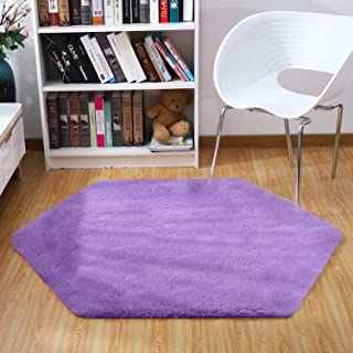 Junovo Ultra Soft Rug for Nursery Children Room Baby Room Dormitory Hexagonal Carpet for Playhouse Princess Tent Kids Play Castle, Diameter 55-inch, Purple