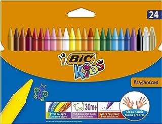 BIC Kids Plastidecor Craies de Coloriage - Couleurs Assorties, Etui Carton de 24