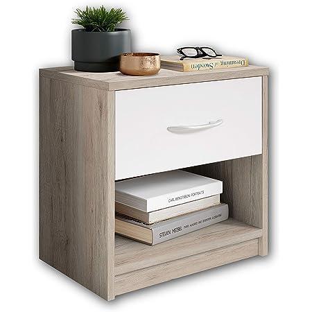 Stella Trading PEPE en San Remo optic, blanc-Table de chevet simple avec un tiroir convenant à chaque lit et chambre à coucher, Chêne, 39 x 41 x 28 cm