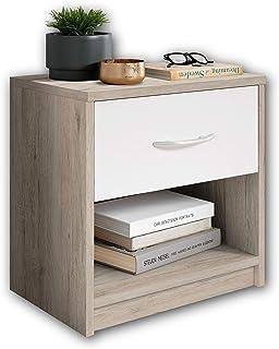 Stella Trading PEPE en San Remo optic, blanc-Table de chevet simple avec un tiroir convenant à chaque lit et chambre à cou...