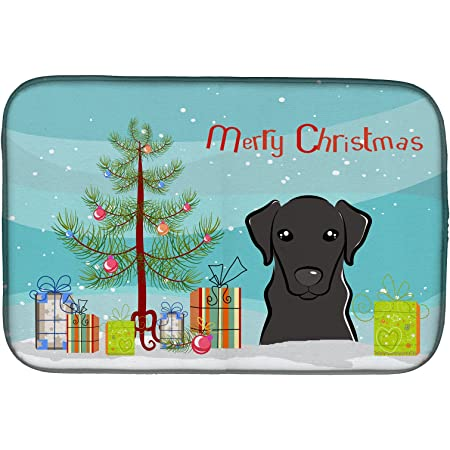 Amazon Com Caroline S Treasures Bb2926ddm Black Labrador Retriever Merry Christmas Tree Dish Drying Mat 14 X 21 Multicolor Caroline S Treasures Kitchen Dining
