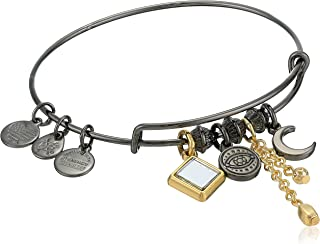 Alex and Ani Women's Evil Eye Cluster Charm Bangle Two Tone, Midnight Silver