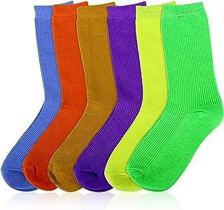 MOSOTECH Calcetines Mujer, 6 Pairs Color Brillante Calcetines de Mujer Algodon de Moda y Casual, Transpirable Cómodo Calcetines para Mujer/Señoras/Muchachas, EU Size 35-41