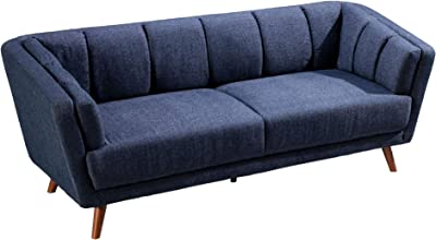 Benjara Fabric Upholstered Sofa with Vertical Tufting and Angled Legs, Blue