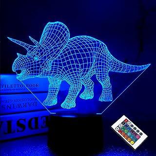 Dinosaur 3D Night Light,Triceratops LED Optical Illusion Lamp 16 Colors Changing USB,Boys Room Decor Unique Christmas Birt...