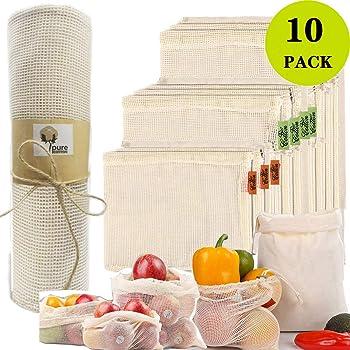 AlgaMarina Bolsas Reutilizables Ecológicas de Compra Bolsa de Malla Lavable y Transpirable para Frutas y Juguetes (10 Pcs de Algodón-Nuevo): Amazon.es: Hogar