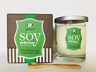 100% All Natural Soy Moisturizing Scented Candle, Hot Oil Treatment Massage- Aromatherapy Full Size Gardenia Flower