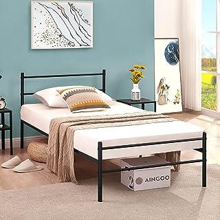 Marco de cama doble Aingoo de 35,5 cm con plataforma de metal con cabecero y pie, base de colchón de soporte de listones d...