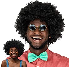 WILLBOND 2 Pieces Jumbo Afro Wig Mega-Huge Men's Afro Wig Giant Afro Wig Costume Accessories for Halloween Men's Afro Chops Wig 80s 90s Theme Party Black