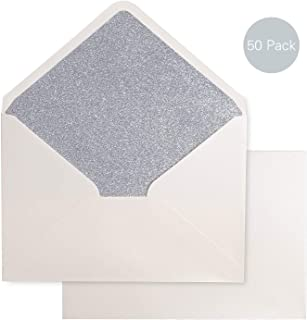 PONATIA 50 PCS/Pack A7 Silver Glitter Envelopes,5.25 x 7.5 inches with Adhesive Self-Sealing Tape, Perfect for 5''x7'' Weddings, Invitation Cards,Graduation Invite (Pearl Ivory+Silver Glitter)