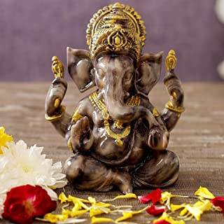 Tied Ribbons Ganesh Idol for Home Decor Mandir Table Desktop Table Decoration Ganesha Idol for Pooja Room Mandir Temple De...
