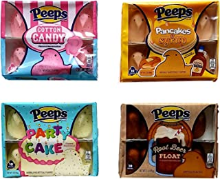 Cotton Candy, Pancakes & Syrup, Party Cake, Root Beer Float - Variety Pack of 4 Peeps Marshmallow Chicks Bundle