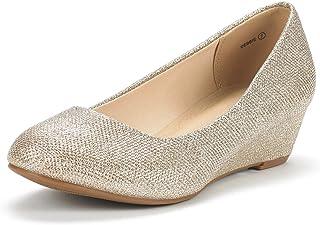 4616f4405e DREAM PAIRS Women's Debbie Mid Wedge Heel Pump Shoes