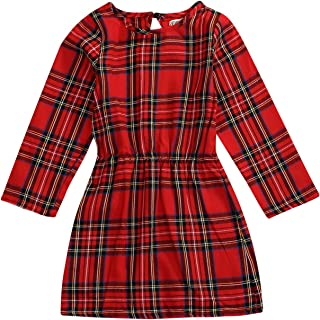 MLCHNCO Toddler Baby Girls Plaid Dress Ruffled Long Sleeve Skirt Floral Princess Casual Playwear Outfit