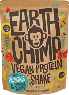 EarthChimp Vegan Protein Powder (26 Servings, 32 Oz) with Superfoods, Probiotics, Organic Fruits & Plant Based Protein Pow...