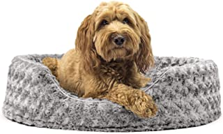 Furhaven Round Pet Beds for Small, Medium, and Large Dogs - Snuggery Dog Bed with Attached Blanket, Hooded Donut Bolster B...