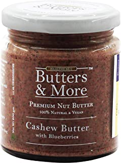 Butters & More Vegan Cashew Butter with Real Blueberries (200G) No Artificial Flavours Or Colour.