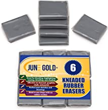 June Gold Kneaded Rubber Erasers, Gray, 6 Pack - Blend, Shade, Smooth, Correct, and Brighten Your Sketches and Drawings