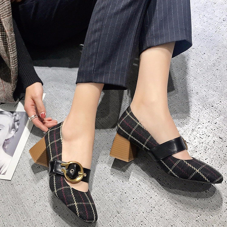 CXY Frühling Einzelne Schuhe, Flache Retro Mary Jane Schuhe mit Hohen Absätzen, Frauen Erste Wort Schnalle Oma Schuhe,Schwarz,35    Smart