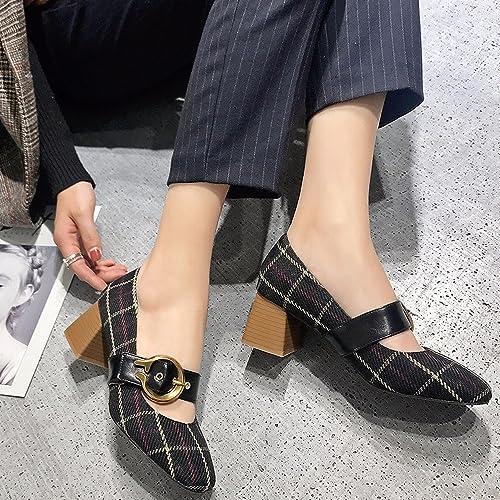 CXY Chaussures Simples de Printemps, Chaussures Mary Jane Rétro Peu Profondes avec des Talons Hauts, Chaussures de Grand-Mère de la Première Boucle de Mot des Femmes,Noir,35
