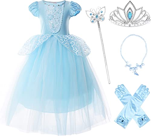 JerrisApparel Girls Princess Costume Puff Sleeve Fancy Birthday Party Dress up