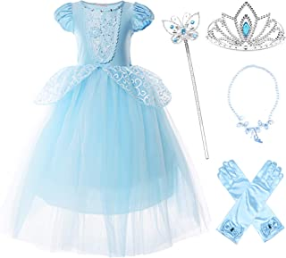 Girls Princess Costume Puff Sleeve Fancy Birthday Party Dress up
