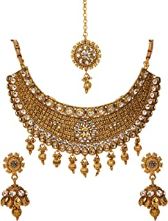 Bindhani Women's Indian Jewelry Simple Bridal Wedding Party Wear Crafted Brides Gold Plated Kundan Polki Choker Necklace Earrings Tikka Bollywood Style Fashion Jewellery Set for Bridemaids