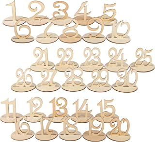 Dedoot Wooden Table Numbers 1-30, Wood Wedding Table Number with Sturdy Holder Base for Party Home Decoration