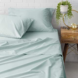 Welhome Queen Size Sheet Set of 4 Piece - 100% Cotton Percale - Breathable - Cool & Crisp - Deep Pocket - Easy fit - Pale Blue