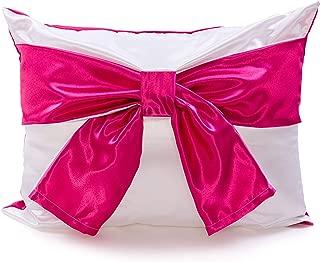 Sleep&ABow Therapeutic Sleep-Aid Pillowcase - Luxurious Satin Pillow Sham for Hair and Skin (Vivid Pink & White, Queen/Full)