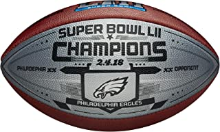 Eagles Super Bowl 52 Champions Silver Football with Score
