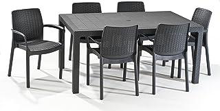 Keter - Set de mobiliario Melody (mesa + 6 sillas), color grafito