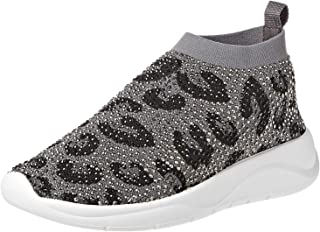 Dune London Emerald Leopard Sneaker For Women, 38 EU Grey