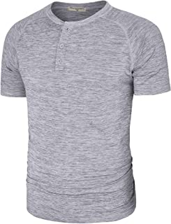 Men's Casual Quick Dry Henley T Shirts Slim Fit Short Sleeve Raglan Tee with 3 Buttons