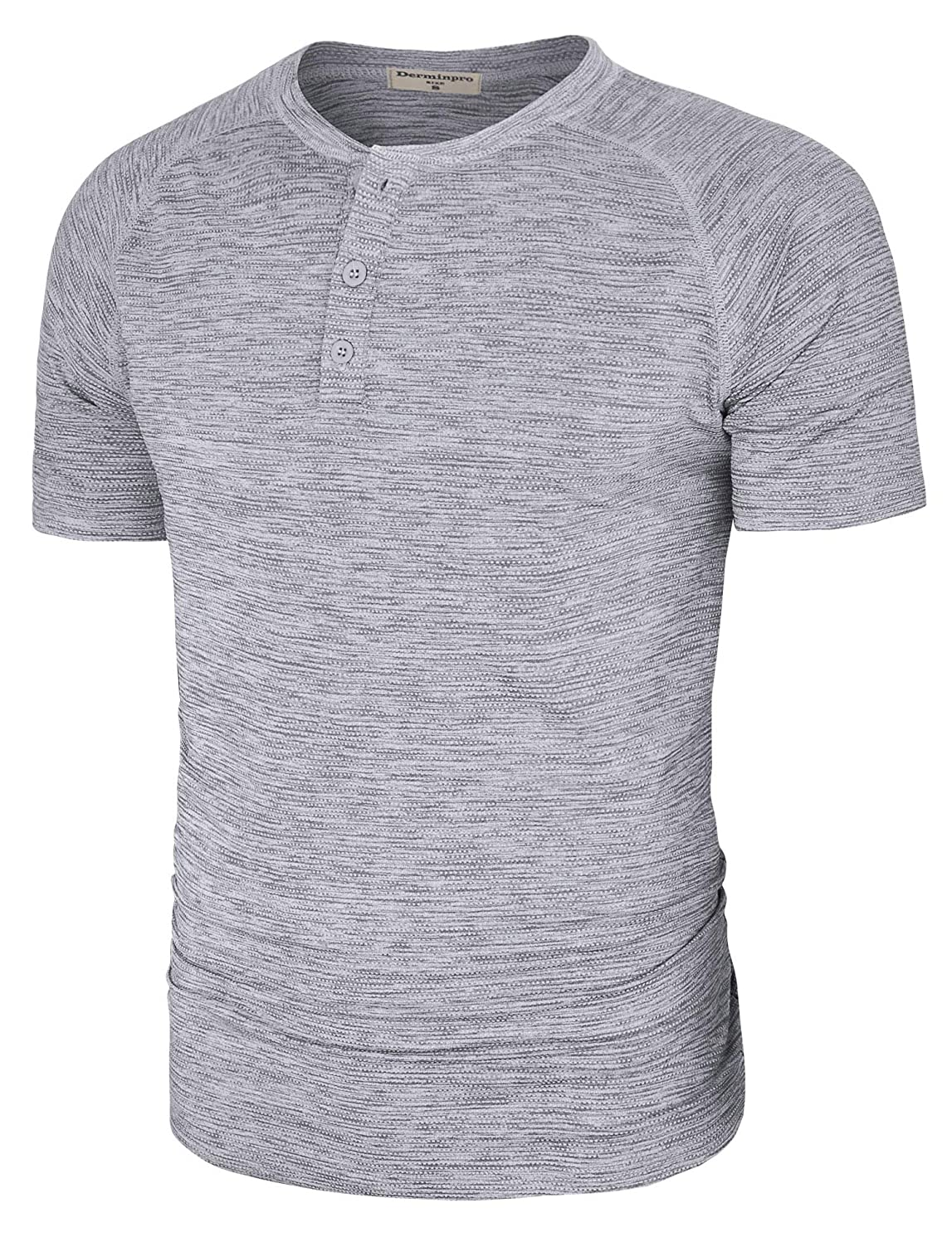 Derminpro Men's Casual Quick Dry Henley T Shirts Short Sleeve Raglan Tee with 3 Buttons