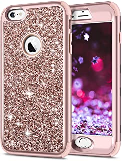 SAMONPOW 3 in 1 Bling Glitter Cover Case for iPhone 6 Plus Case Full Body Protection Sparkle Hard PC Soft Silicone Inner Heavy Duty Bumper Case for iPhone 6s Plus 6 Plus 5.5 inch Rose Gold