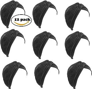 Fair Deal Wholesale Lot-12 Pack Stretch Turbans Head Cover Pleated turban Sun Cap