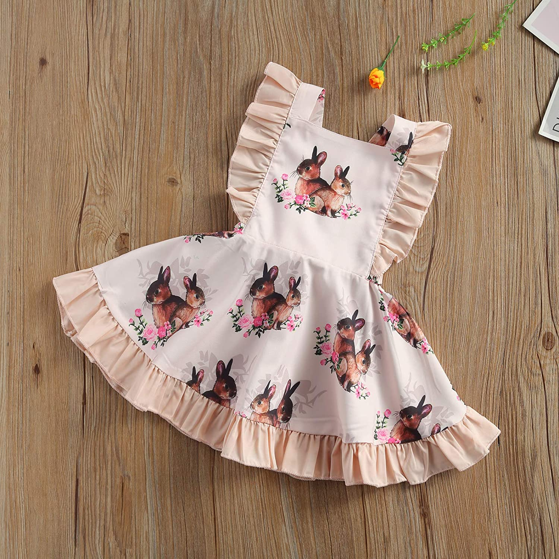 AIYIYA Newborn Little Big Sister Matching Easter Outfits Ruffled Backless Dress Bunny Sleeveless Romper Bodysuit Headband
